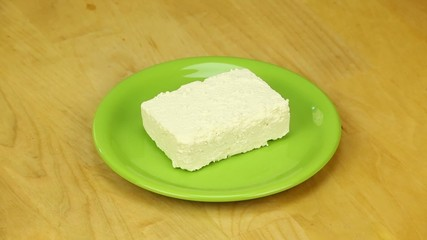 Piece of sheep cheese