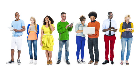 People Diversity Multi-Ethnic Technology Mobile Devices Concept