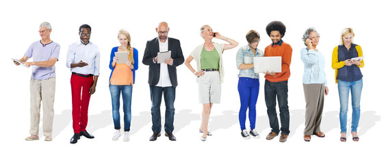 People Diversity Multi-Ethnic Mobile Devices Technology Concept
