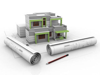 3D view of the new house on architect drawing