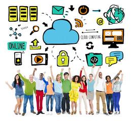 Diversity People Cloud Computing Celebration Community Concept
