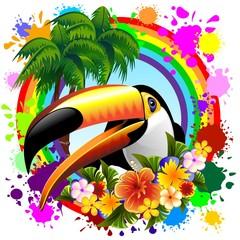 Toucan on Rainbow Tropical Frame
