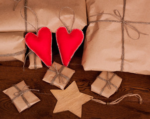 Vintage gift package and hearts.