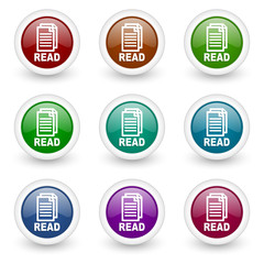 read web icons vector set
