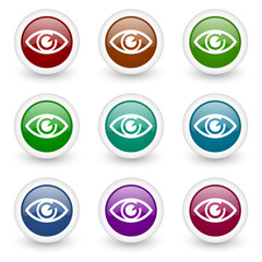 eye colorful web icons vector set