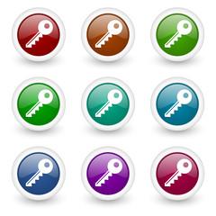 key colorful web icons vector set