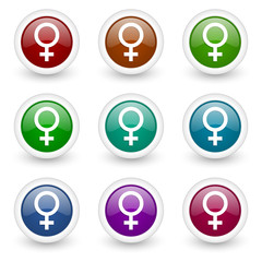 female colorful web icons vector set