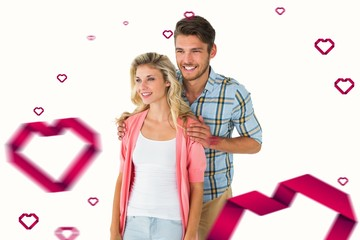 Composite image of attractive young couple smiling together