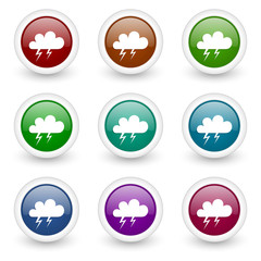 storm colorful web icons vector set