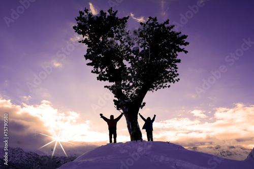 Poster Alpinisme zirvede tek ağaç&zirve başarısı