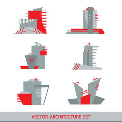 Set of six vector silhouettes of skyscrapers