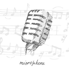 Music notes and microphone hand-drawn.