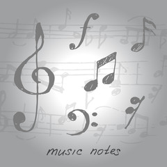 Music notes and signs hand-drawn.