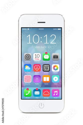 White modern smartphone with application icons on the screen - 75791305