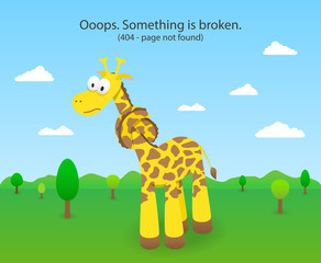 404 error page with knotted giraffe. 404 Page not found site.