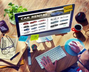 Car Rental Transportation Logistics Selection Man Concept