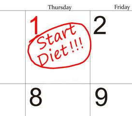 Diet calendar