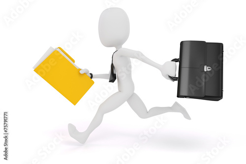canvas print picture 3d man businessman running on white background