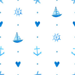 Seamless marine pattern with hand painted watercolor ships, sea