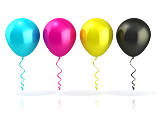 CMYK balloons, isolated on white