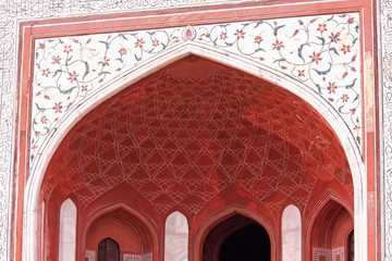 Decorated gateway to the Taj Mahal site in Agra, India