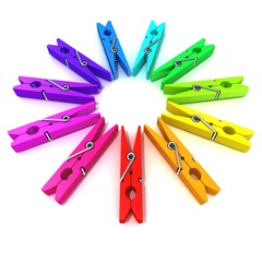 Clothes pins color wheel