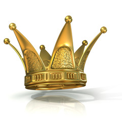 Golden crown isolated on a white background. Side view