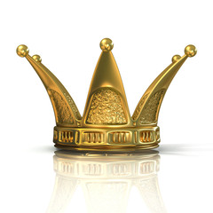 Golden crown isolated on a white background. Front view