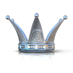 Silver crown isolated on a white background. Front view