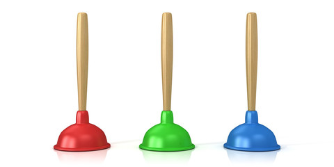 Red, green and blue plungers isolated on white background