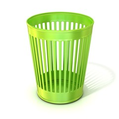 Empty green trash bin, garbage can isolated on white background