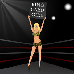 Boxing ring girl holding a board.