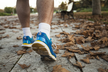 Middle-aged man in running shoes, close-up