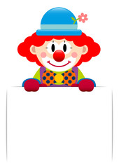 Clown Red Hair Holding Label