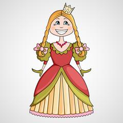 Cartoon of funny little princess