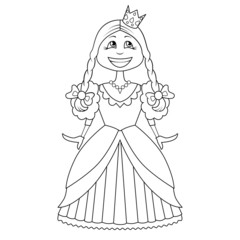 Coloring Book. Cartoon of funny little princess