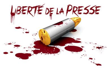 Liberté de la presse et balle de revolver dans marre de sang