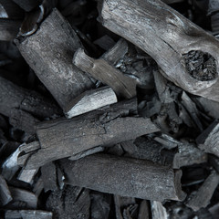 Charcoal close up black color made from wood