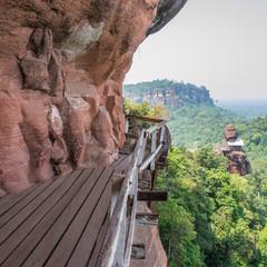 Wooden bridge on mountain at Phutok Thailand