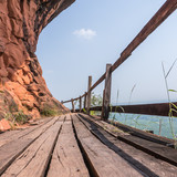 Wooden bridge on mountain at Phutok Thailand