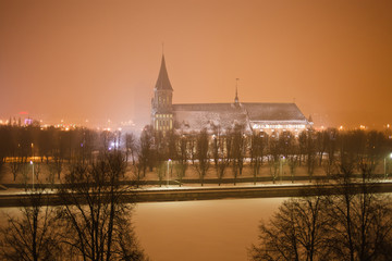 Cathedral and the river embankment Pregolya in Kaliningrad
