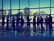 壁紙(ウォールミューラル) - Silhouette Business People Discussion Communication Concept