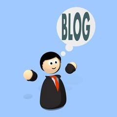 flat design character thinking blog