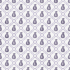 Purple and White Money Bag Repeat Pattern Background