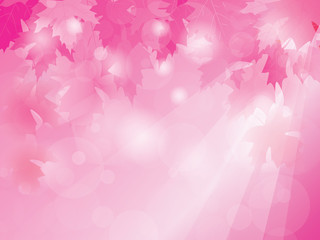 Abstract blurred lights with pink leaves, vector