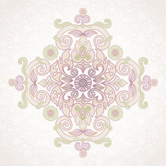 Vector vintage pattern in Eastern style on scroll work backgroun