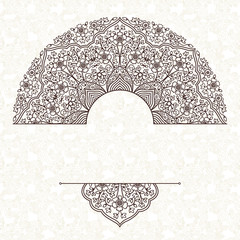 Vector lace pattern in Eastern style on scroll work background.