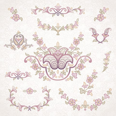 Vector set of vintage ornaments in Eastern style.