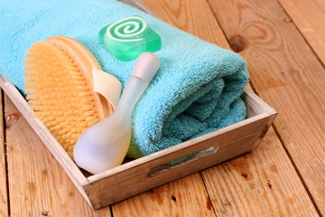 handtuch, Seife und Bürste