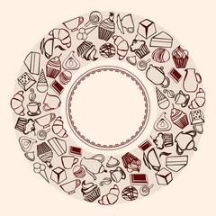 Desserts Round Background - Illustration